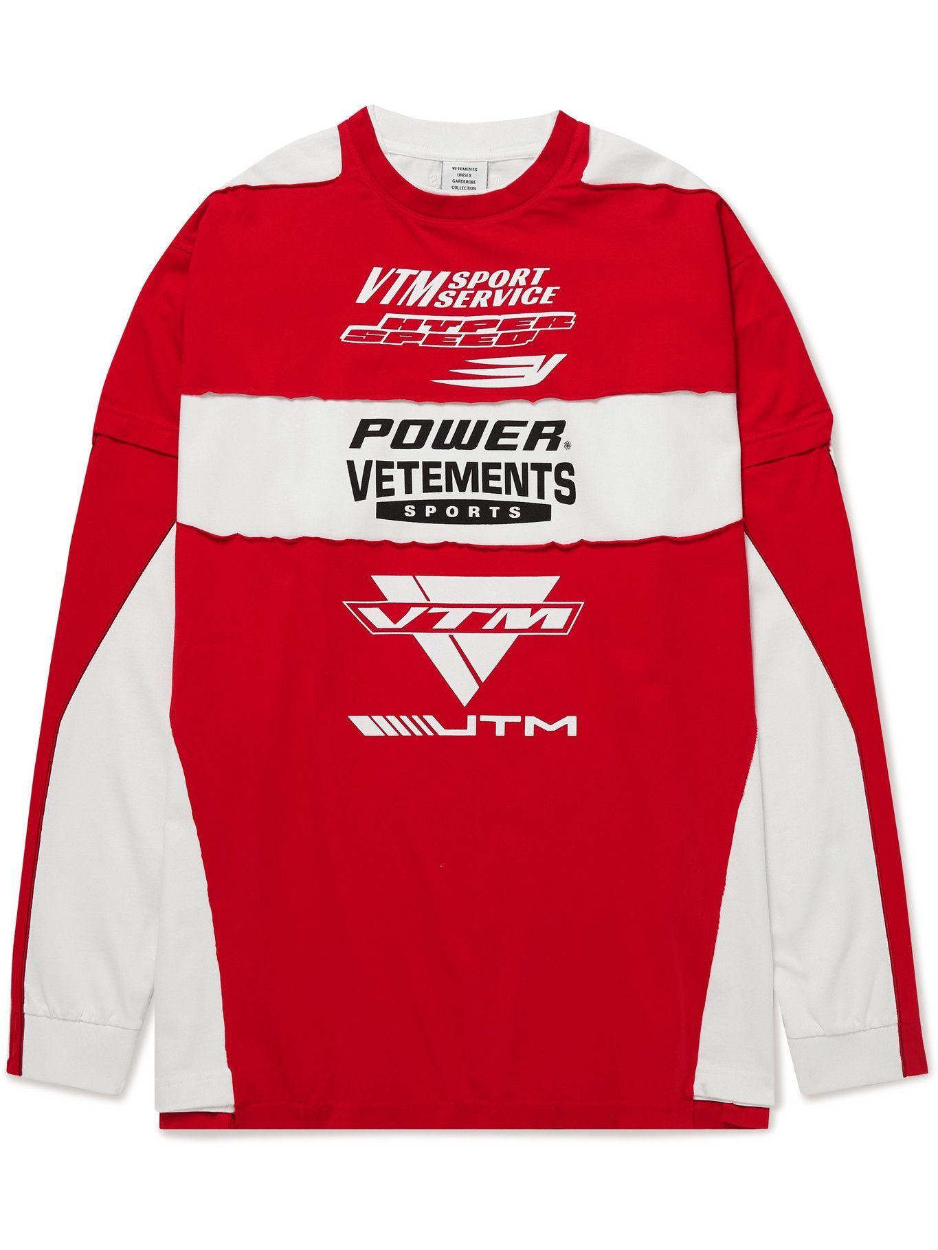 Photo: Vetements - Logo-Print Panelled Cotton-Jersey T-Shirt - Red