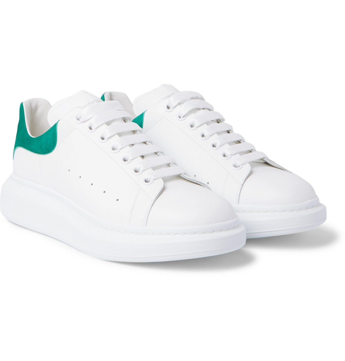 Photo: Alexander McQueen - Exaggerated-Sole Leather Sneakers - White