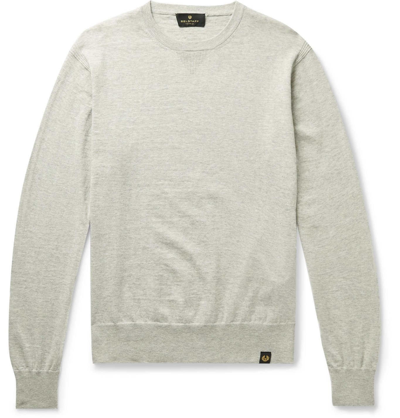 Photo: Belstaff - Castle Mélange Cotton and Cashmere-Blend Sweater - Gray