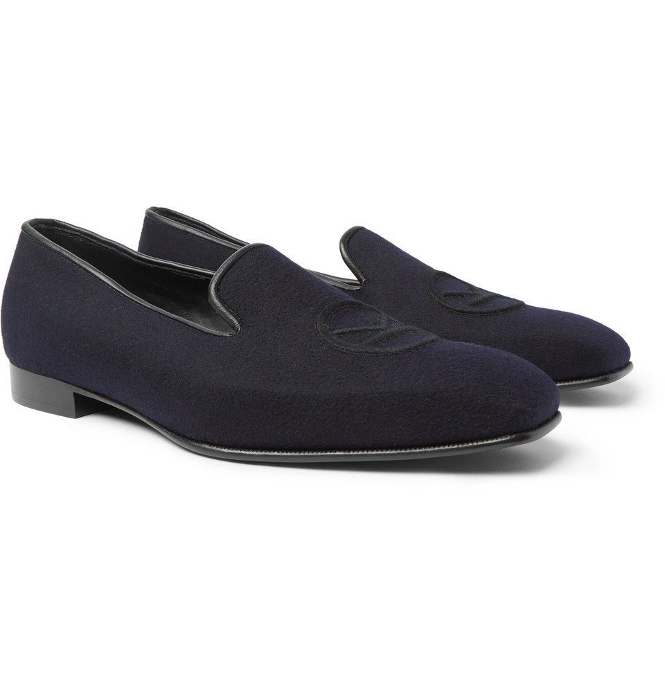 Photo: Kingsman - George Cleverley Windsor Leather-Trimmed Embroidered Cashmere Slippers - Navy