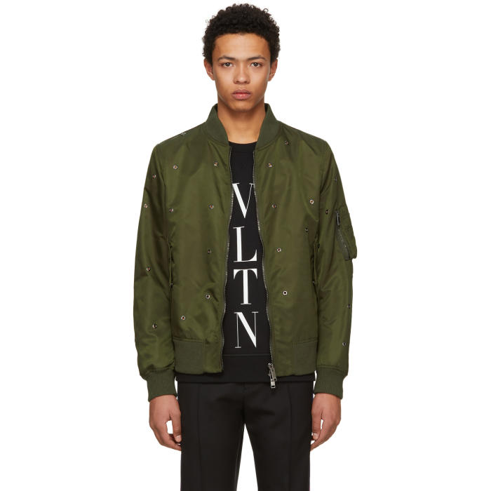 Photo: Valentino Green Eyelet Bomber Jacket