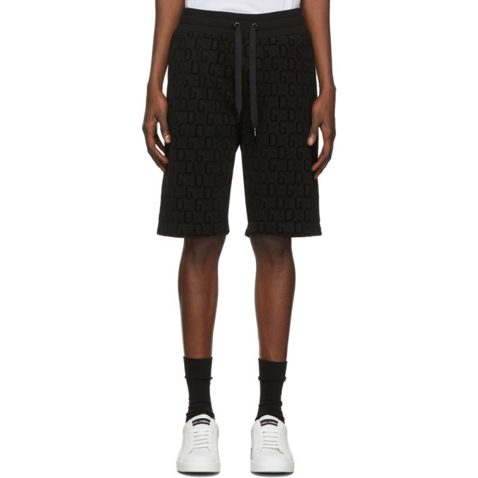 Dolce and Gabbana Black Flocked Print Bermuda Shorts