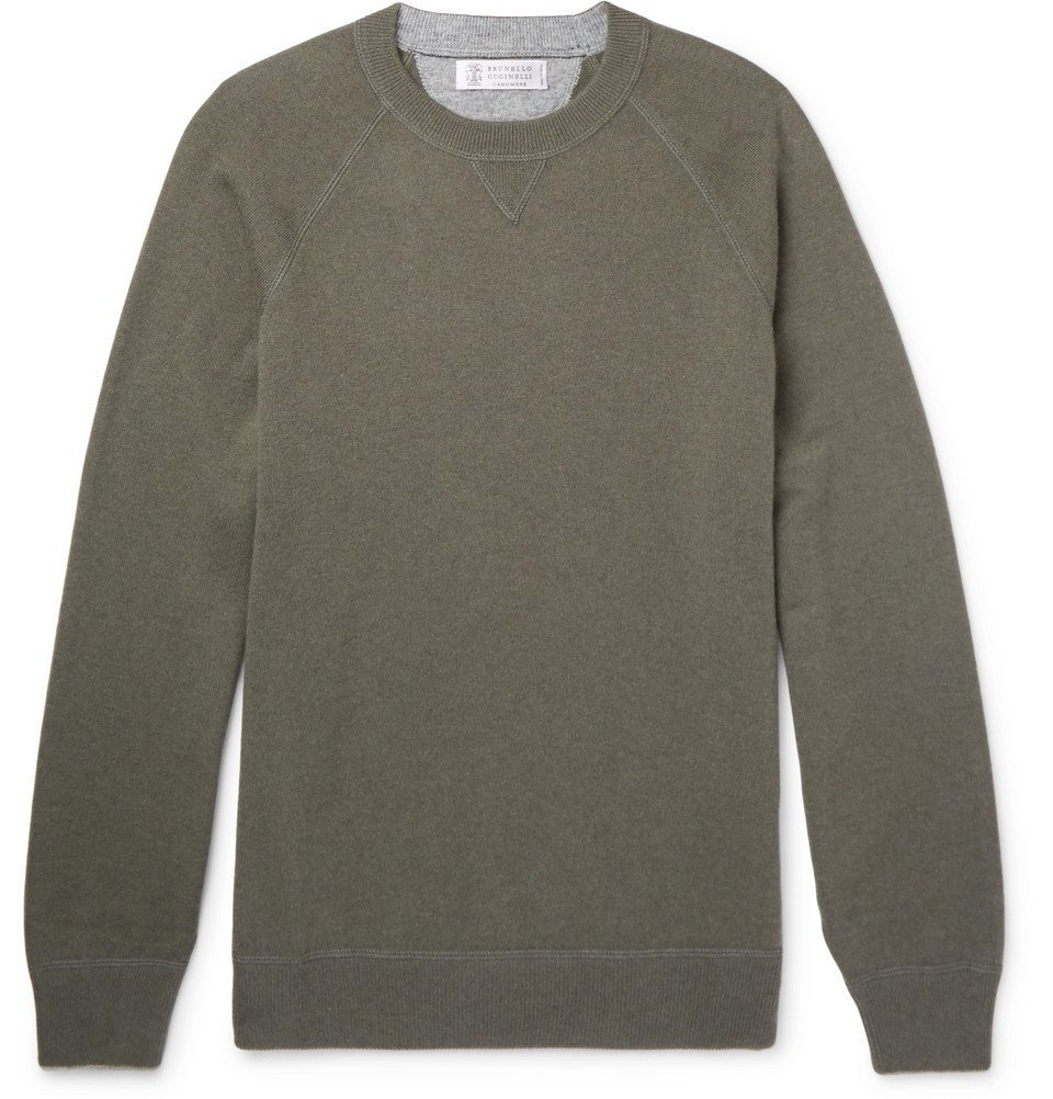 Photo: Brunello Cucinelli - Wool, Cashmere and Silk-Blend Sweater - Army green