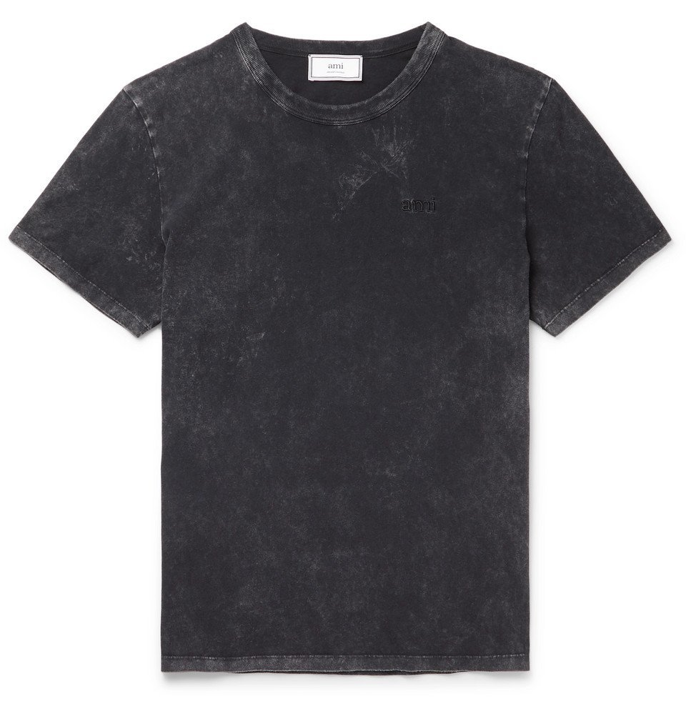 Photo: AMI - Logo-Embroidered Cotton-Jersey T-Shirt - Black