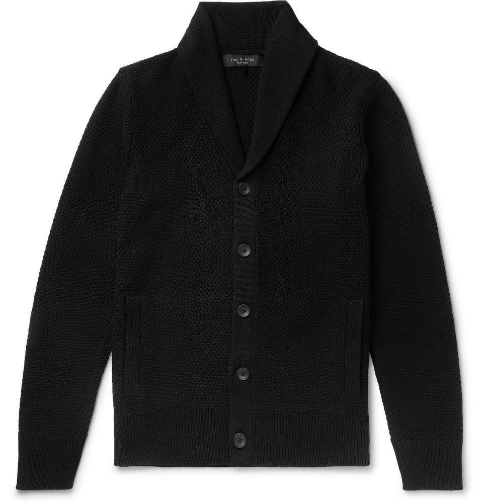 Photo: rag & bone - Cardiff Shawl-Collar Merino Wool and Cotton-Blend Cardigan - Black