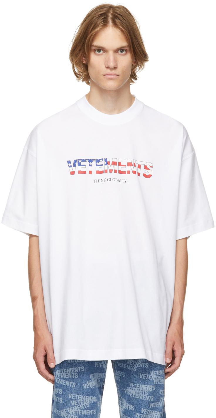 Photo: VETEMENTS White Jersey US Logo T-Shirt