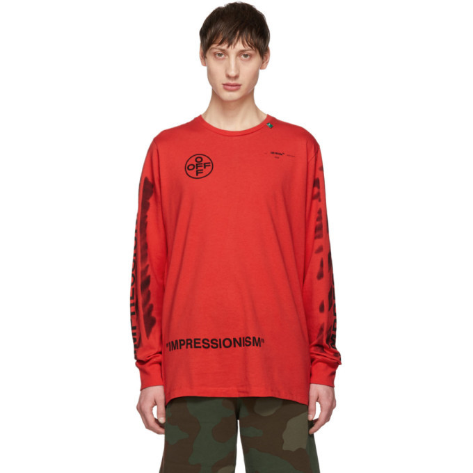 Photo: Off-White Red Diag Stencil Long Sleeve T-Shirt