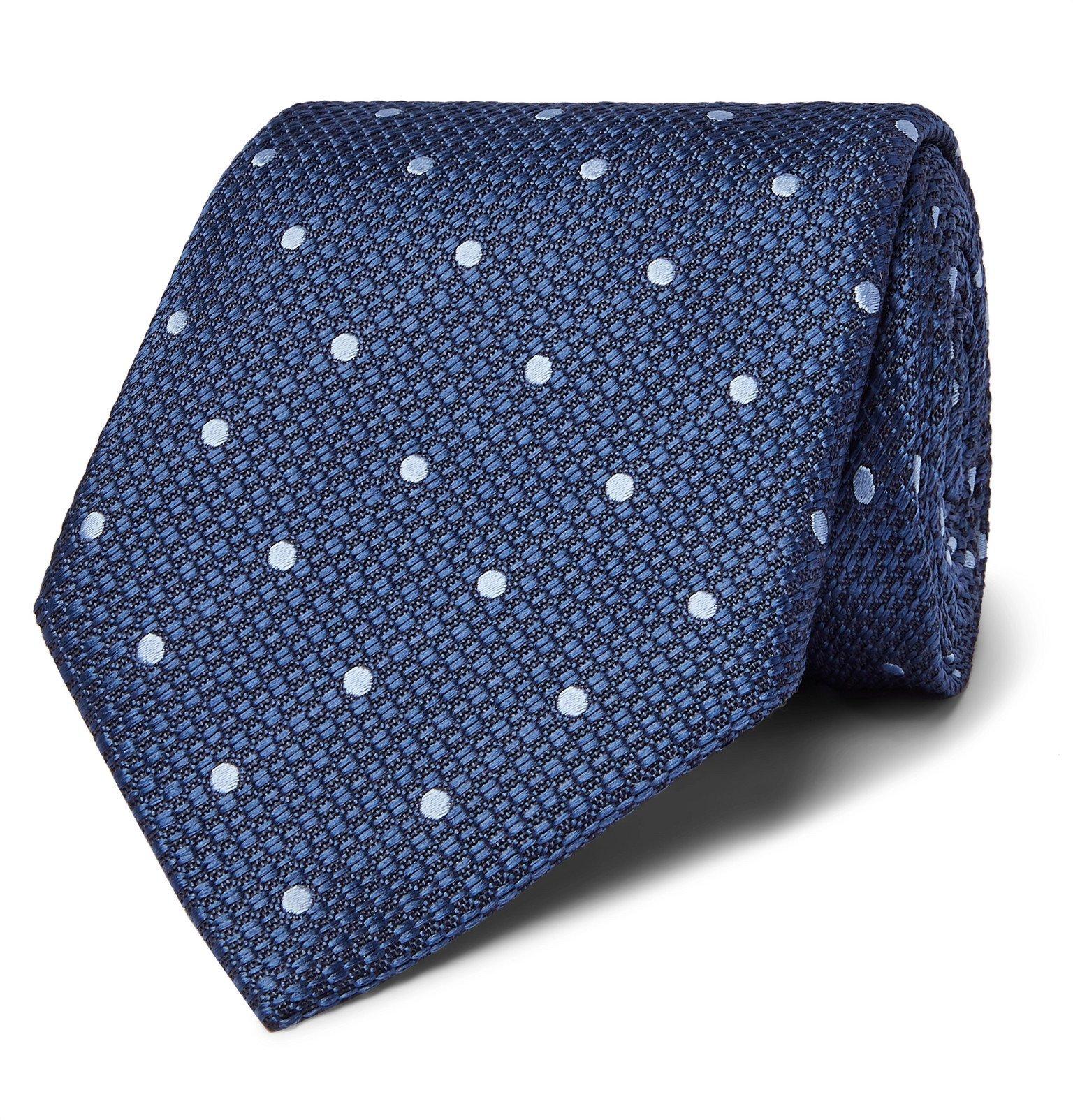 Photo: TOM FORD - 8cm Polka-Dot Silk-Jacquard Tie - Blue