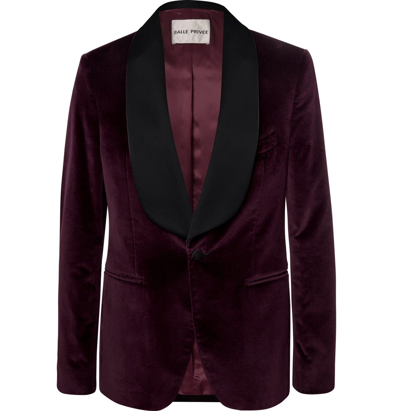 Photo: SALLE PRIVÉE - Burgundy Bori Slim-Fit Satin-Trimmed Cotton-Velvet Tuxedo Jacket - Burgundy