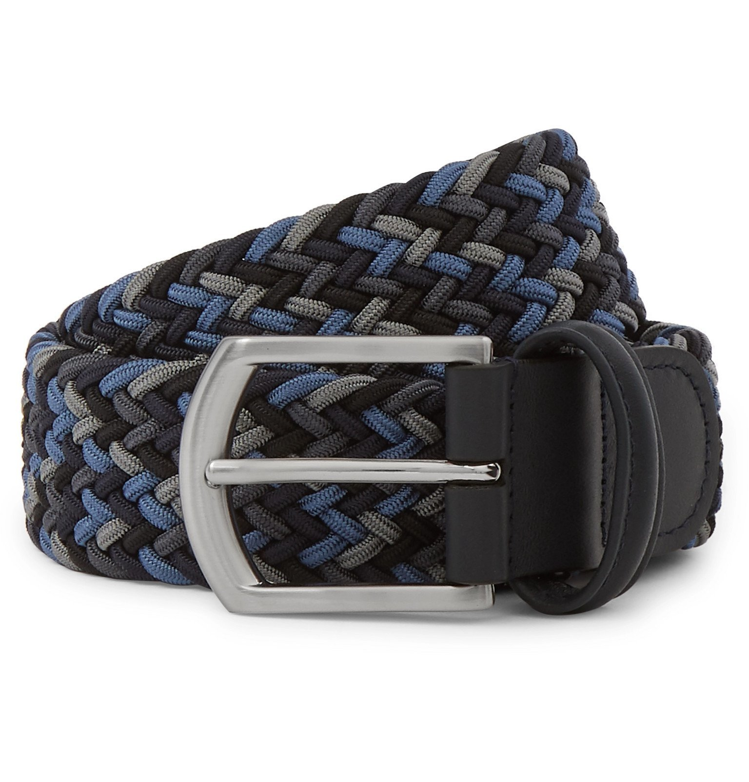 Photo: Anderson's - 3.5 Navy Leather-Trimmed Woven Elastic Belt - Blue