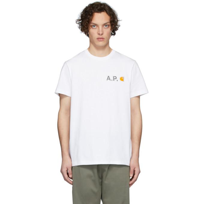 Photo: A.P.C. White Carhartt WIP Edition Fire T-Shirt