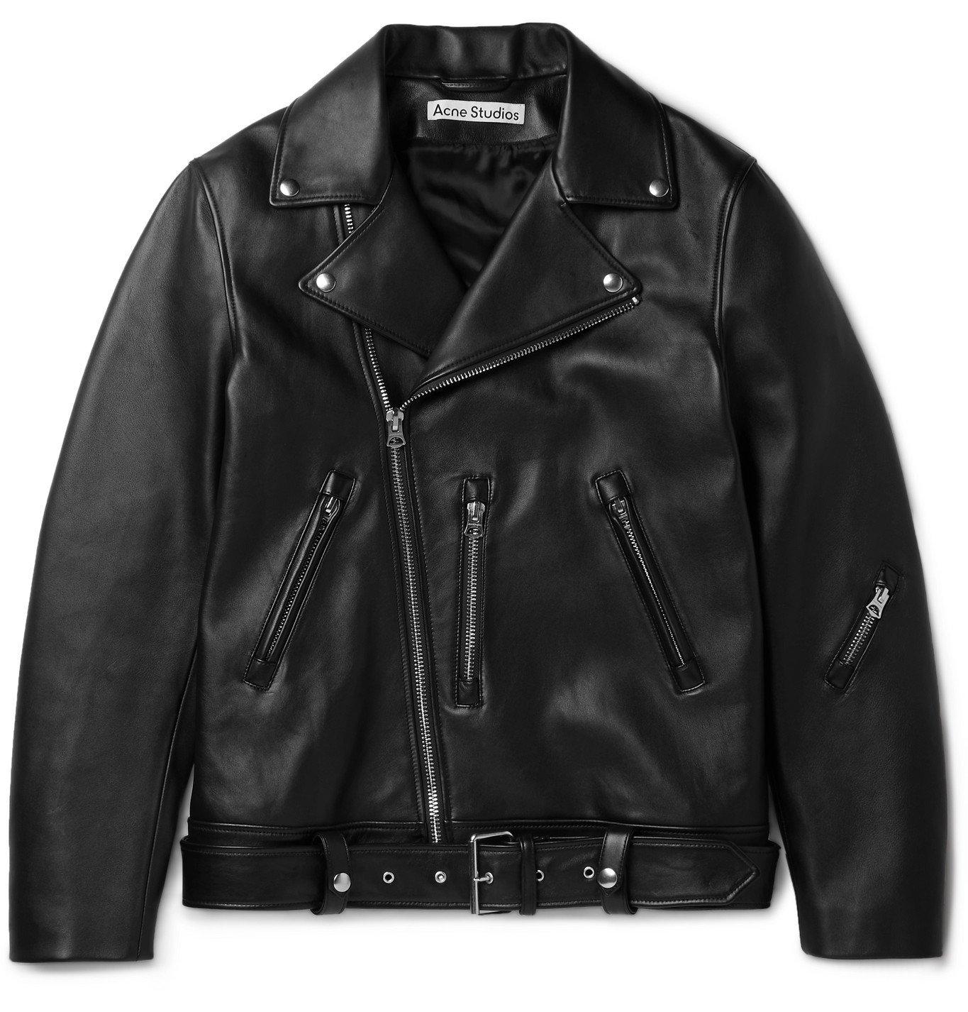 Photo: ACNE STUDIOS - Nate Belted Leather Biker Jacket - Black