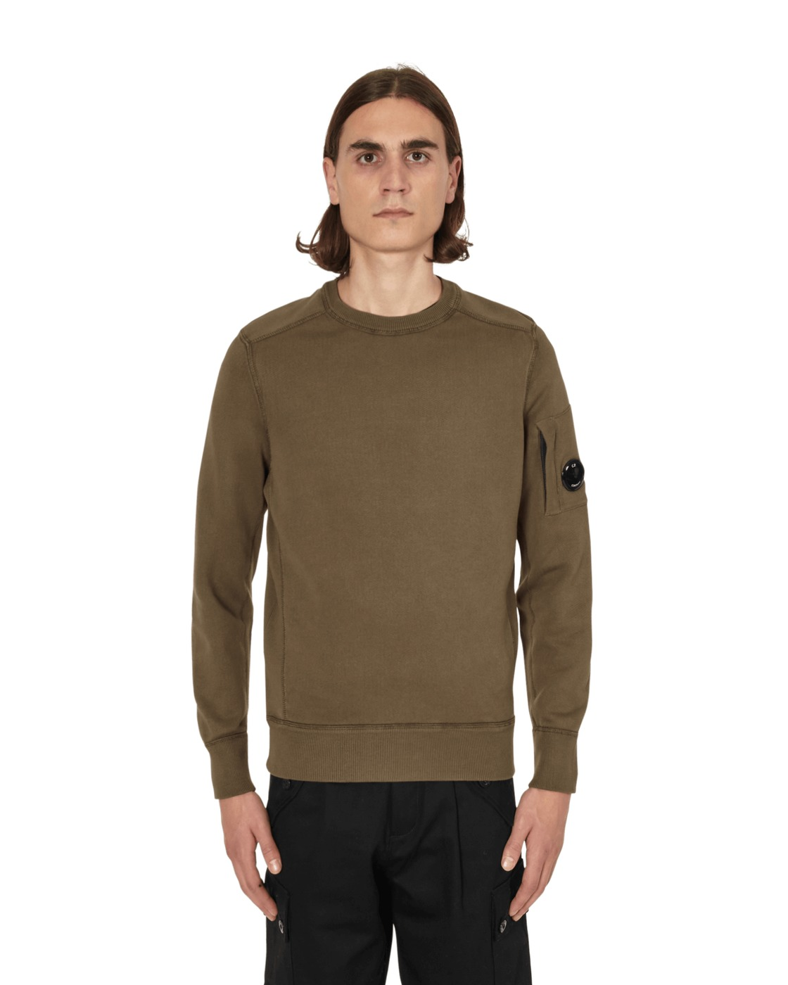 C.P. Company Garment Dyed Fleece Lens Crewneck Sweatshirt Ivy Green