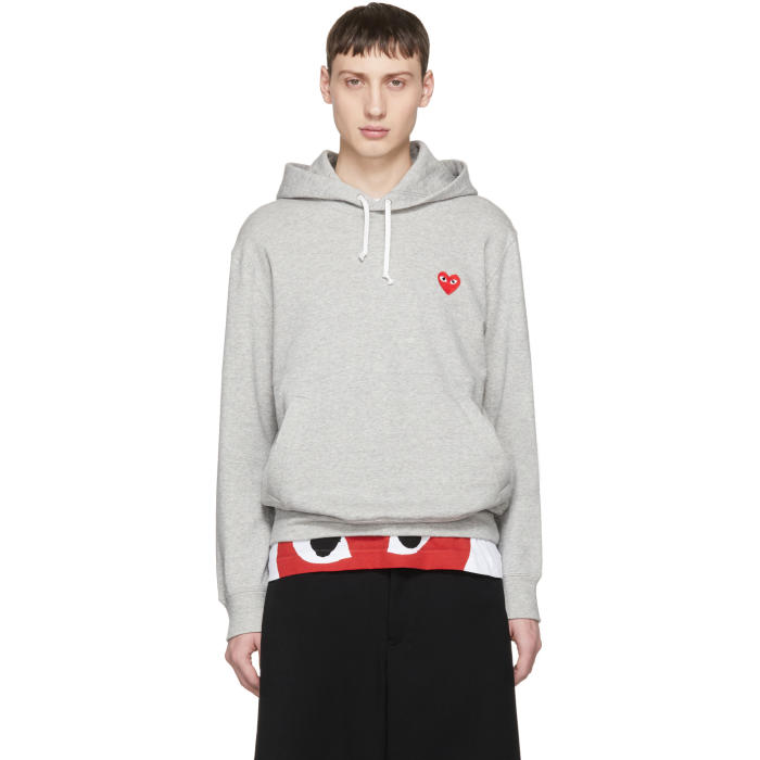 Photo: Comme des Garçons Play Grey Heart Patch Hoodie