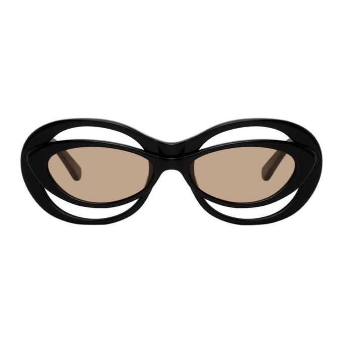 Martine Rose Navy Bug-Eye Cat-Eye Sunglasses