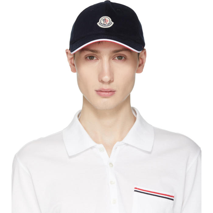 Photo: Moncler Navy Logo Baseball Cap