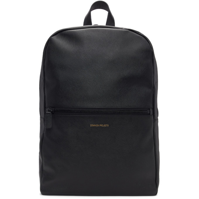 Common Projects Black Saffiano Simple Backpack