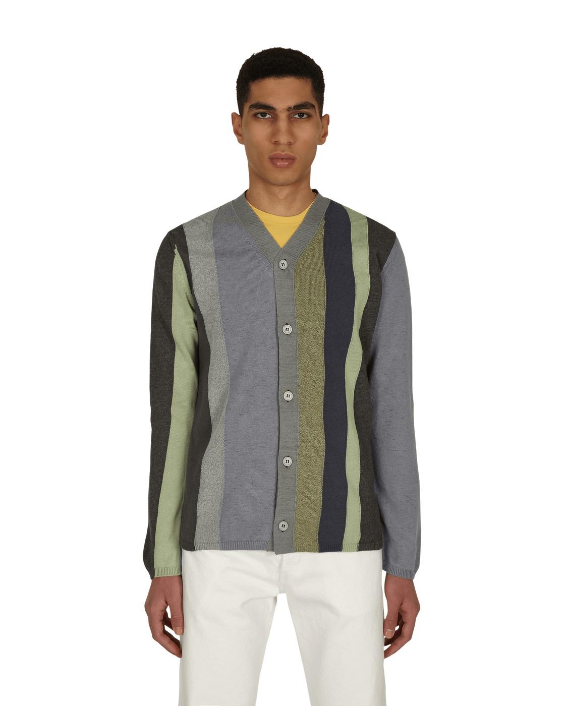 Photo: Comme Des Garcons Shirt V Neck Striped Cardigan Black