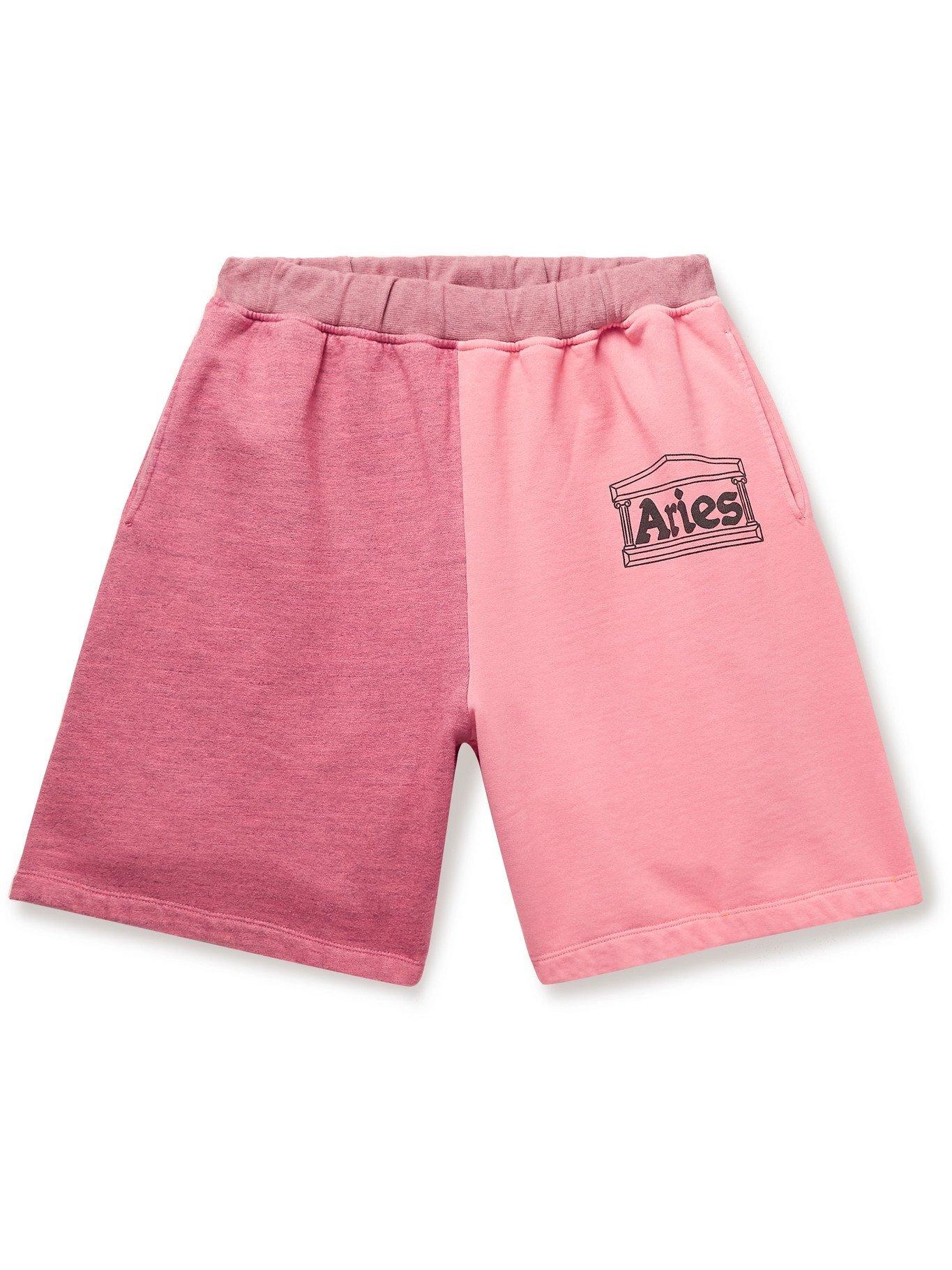 ARIES - Panelled Logo-Print Fleece-Back Cotton-Jersey Shorts - Pink - L
