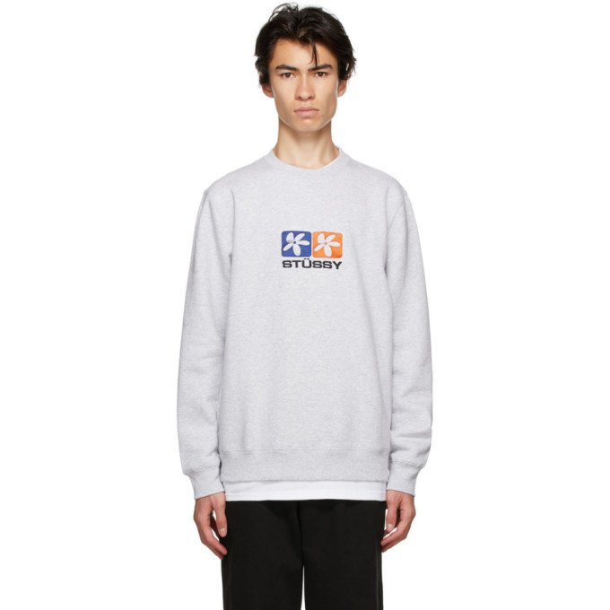 Photo: Stussy Grey 2 Flowers Crew Sweatshirt