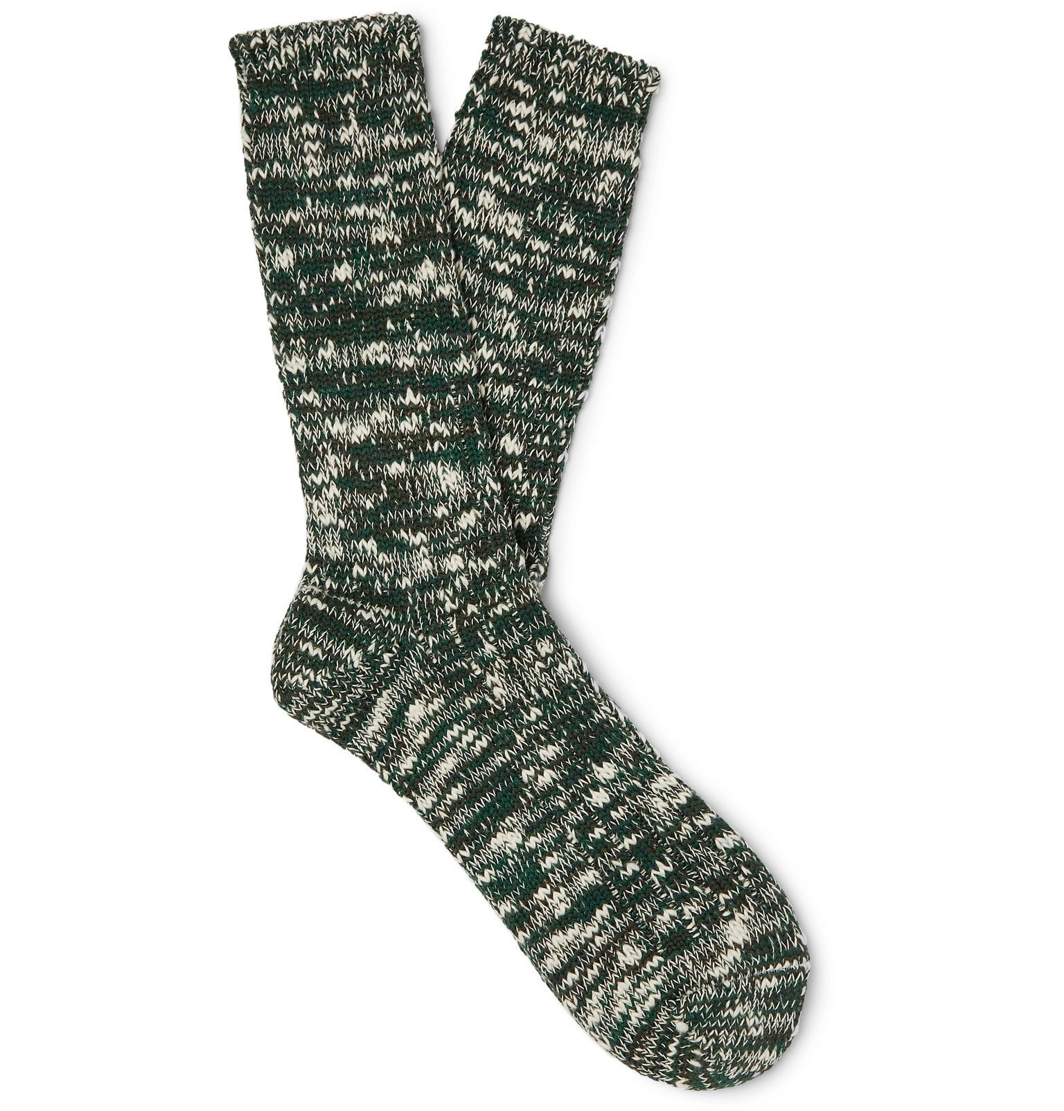 Photo: Anonymous Ism - Mélange Cotton-Blend Socks - Green