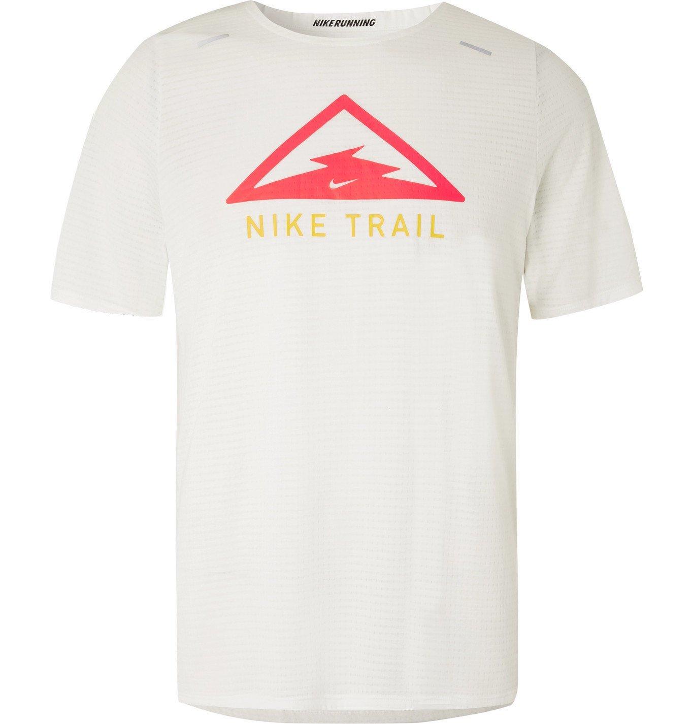 Nike Running - Rise 365 Trail Logo-Print Dri-FIT T-Shirt - White