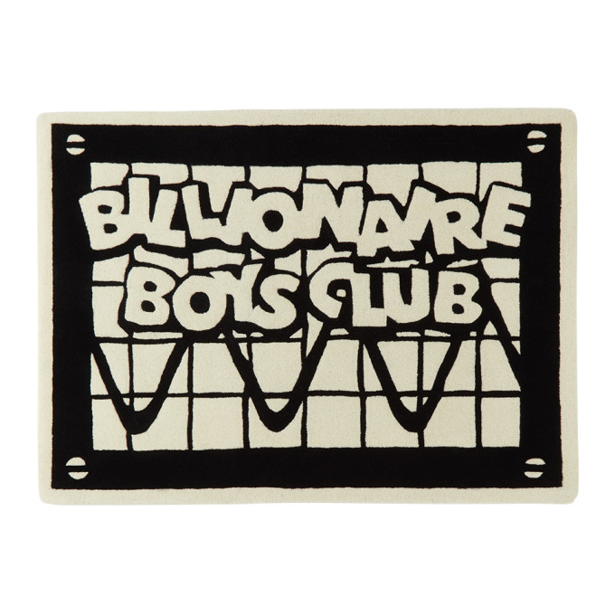 Photo: Billionaire Boys Club SSENSE Exclusive Black and Off-White Logo Rug