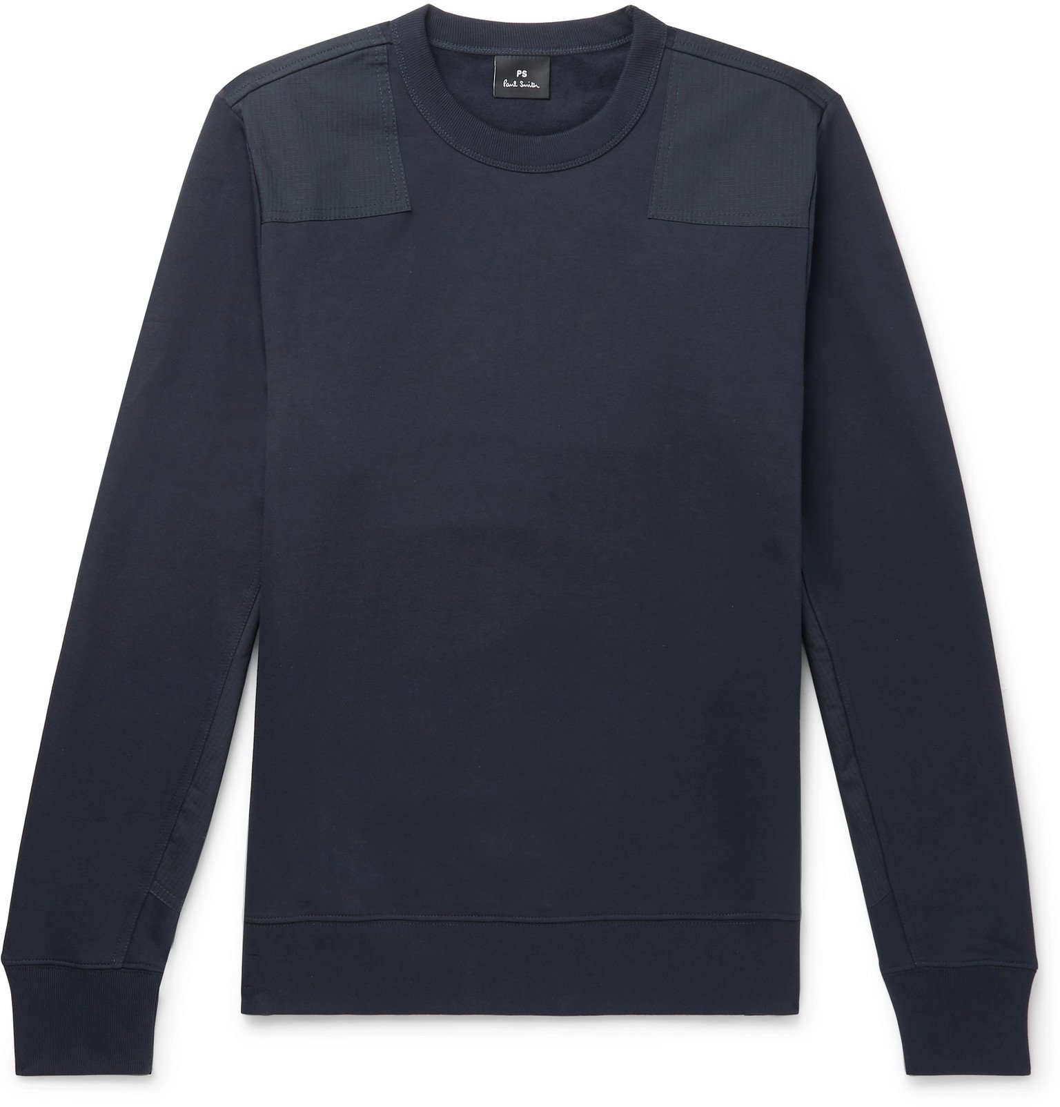 Photo: PS Paul Smith - Panelled Fleece-Back Cotton-Jersey Sweater - Blue