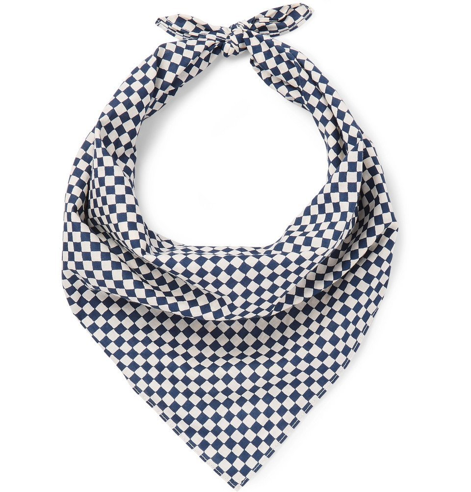 Photo: Blue Blue Japan - Checked Cotton Bandana - Indigo