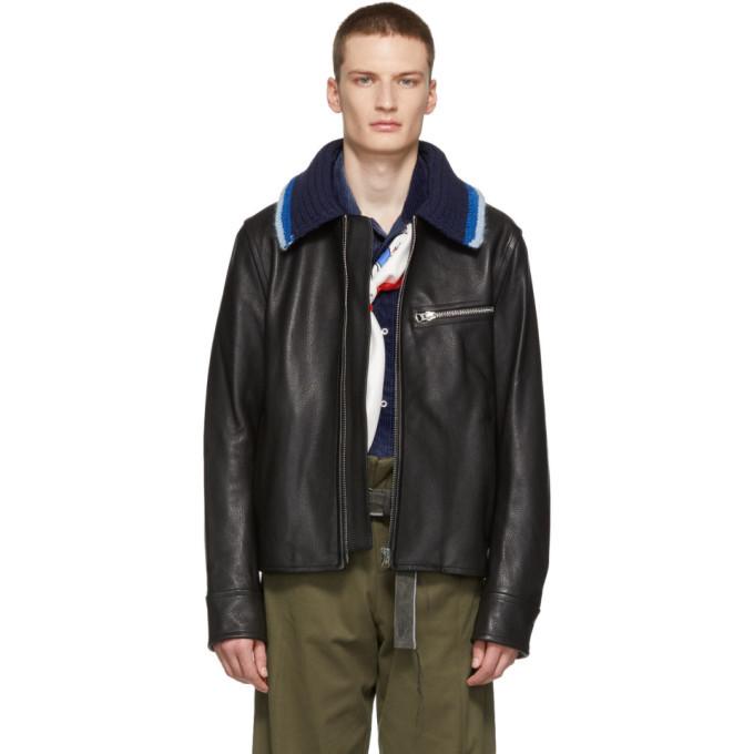 Photo: Acne Studios Black Knit Collar Leather Jacket