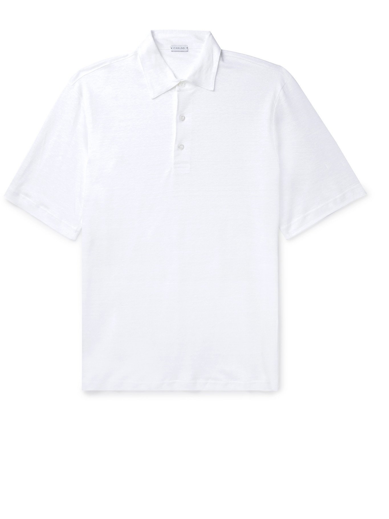 Photo: CARUSO - Slim-Fit Linen Polo Shirt - White
