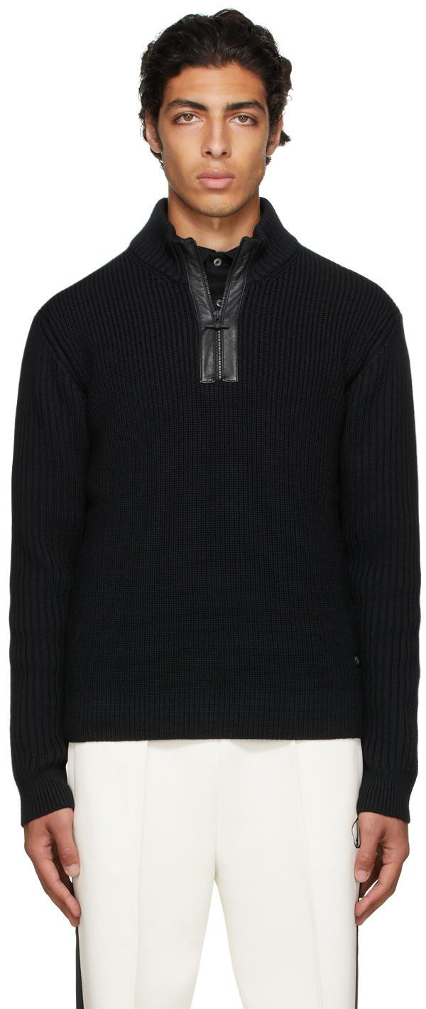 Photo: Dunhill Black Engineered Half-Zip Sweater