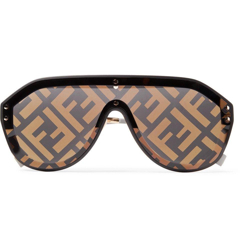 Photo: Fendi - Aviator-Style Rubber-Trimmed Gold-Tone Logo-Print Sunglasses - Brown