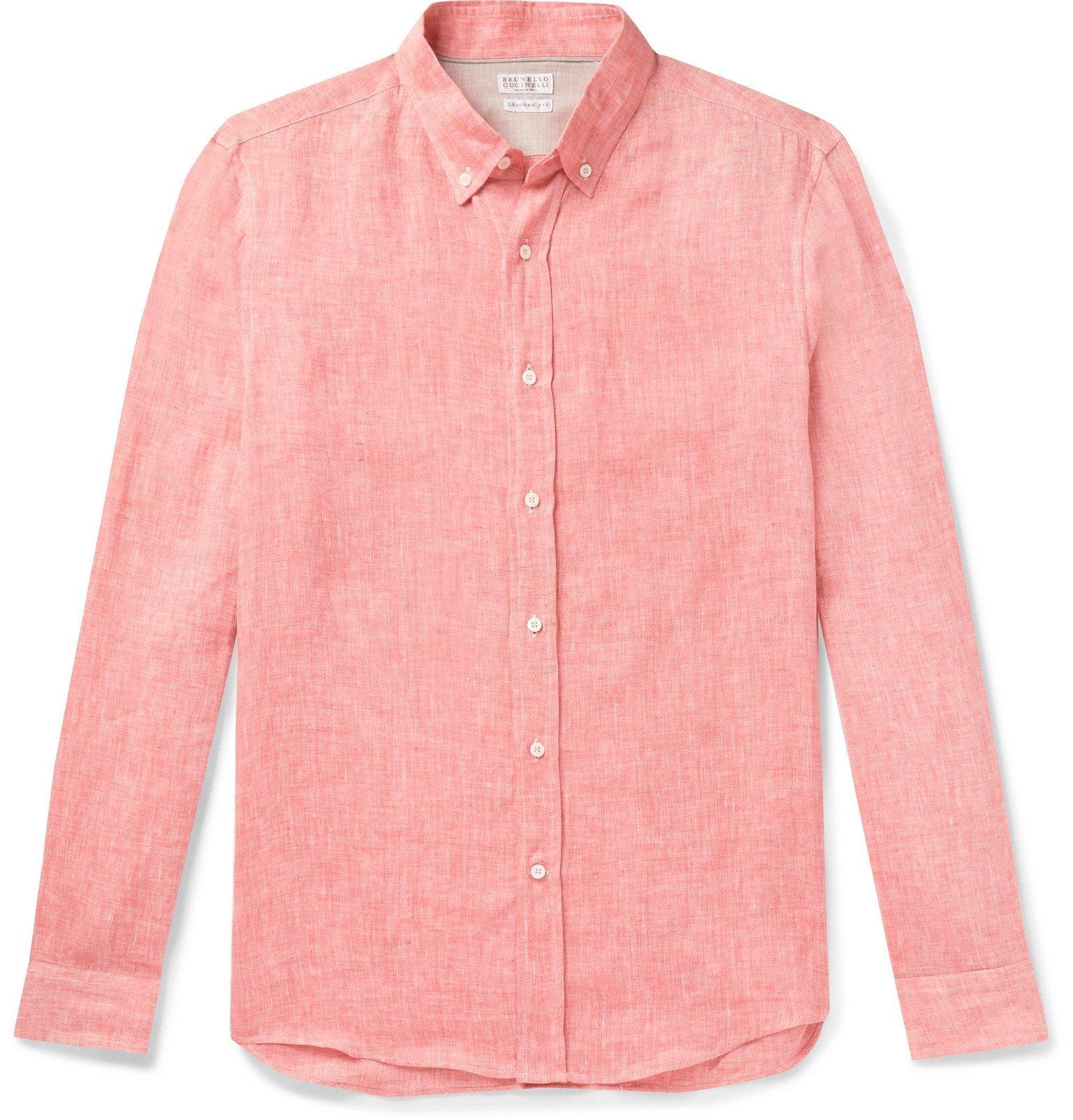 Photo: Brunello Cucinelli - Button-Down Collar Mélange Linen Shirt - Pink