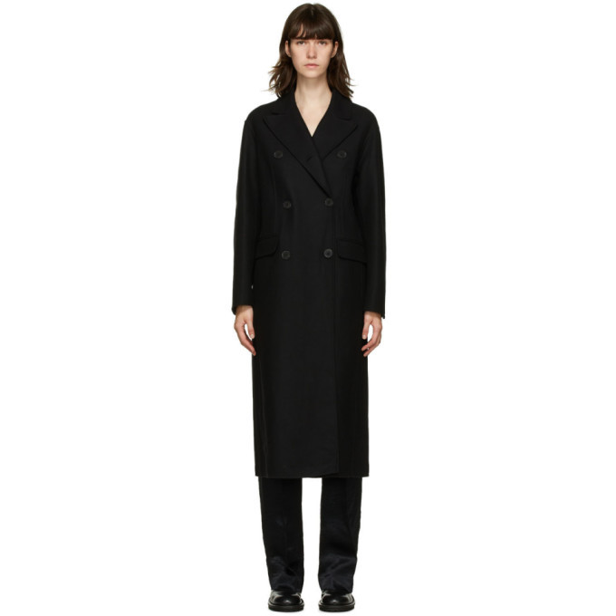 Photo: Ann Demeulemeester Black Wool and Cashmere Double-Breasted Coat