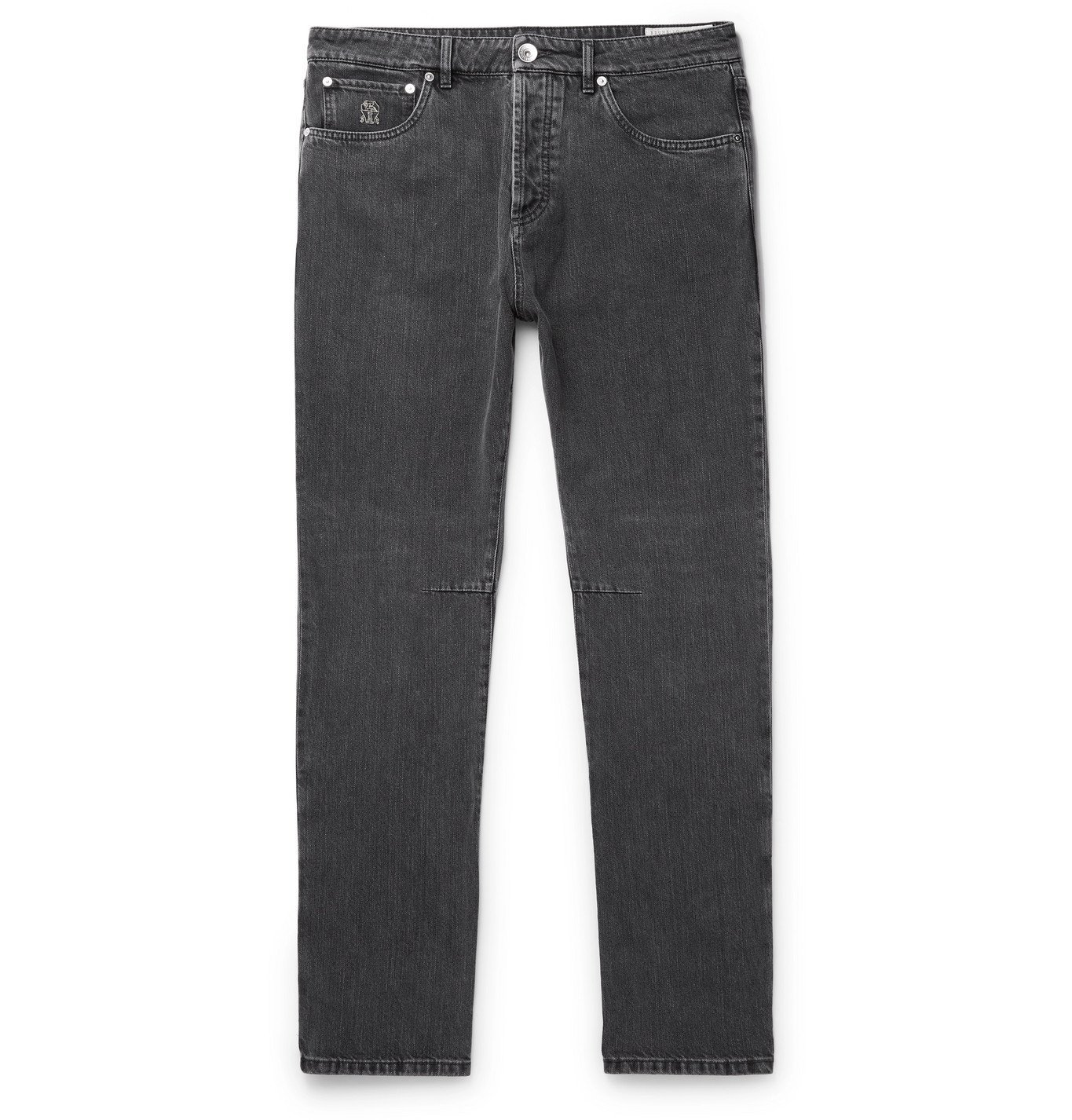 Photo: Brunello Cucinelli - Slim-Fit Denim Jeans - Gray