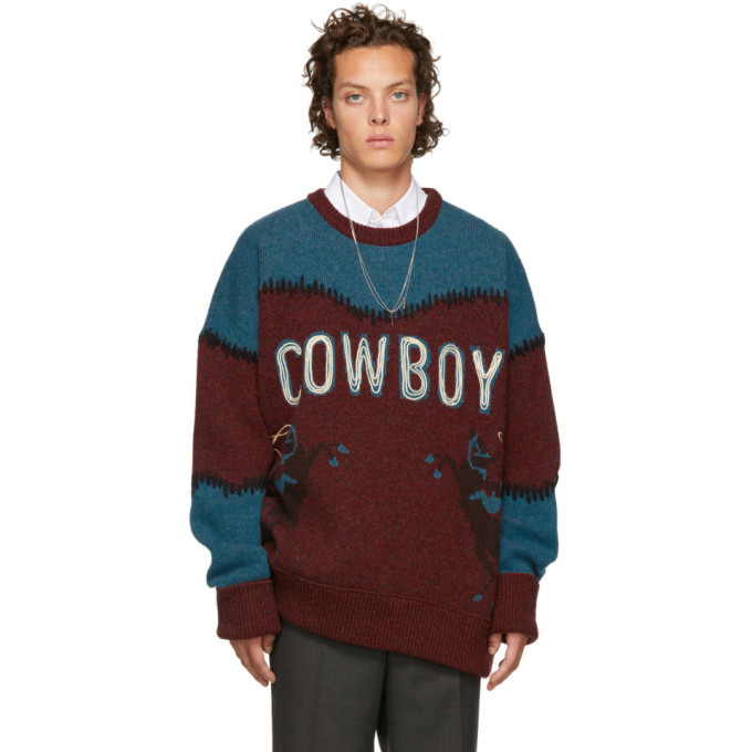 Photo: Dsquared2 Burgundy and Blue Cowboy Sweater
