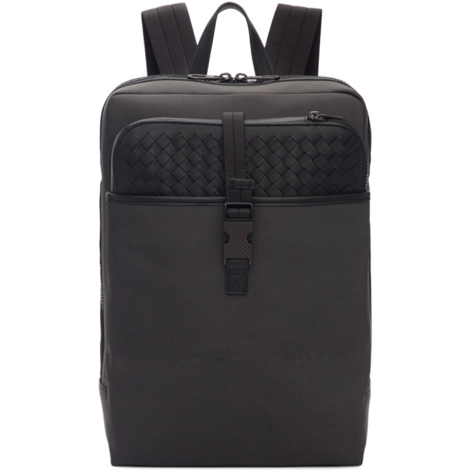 Photo: Bottega Veneta Grey and Black Medium Canvas High-Teck Backpack