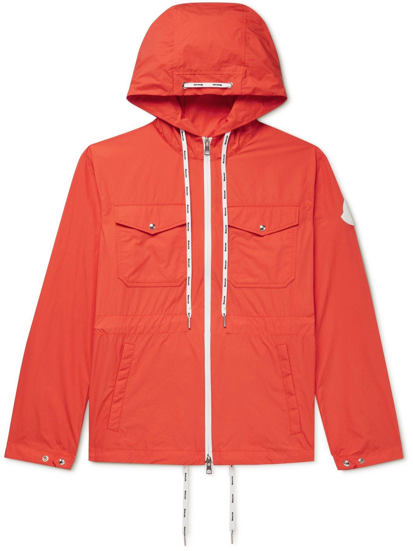 Photo: MONCLER - Carion Logo-Appliquéd Cotton-Blend Shell Hooded Jacket - Orange - 1