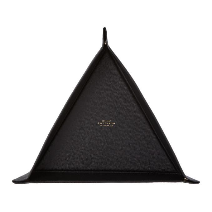 Smythson Black Large Triangle Panama Trinket Tray