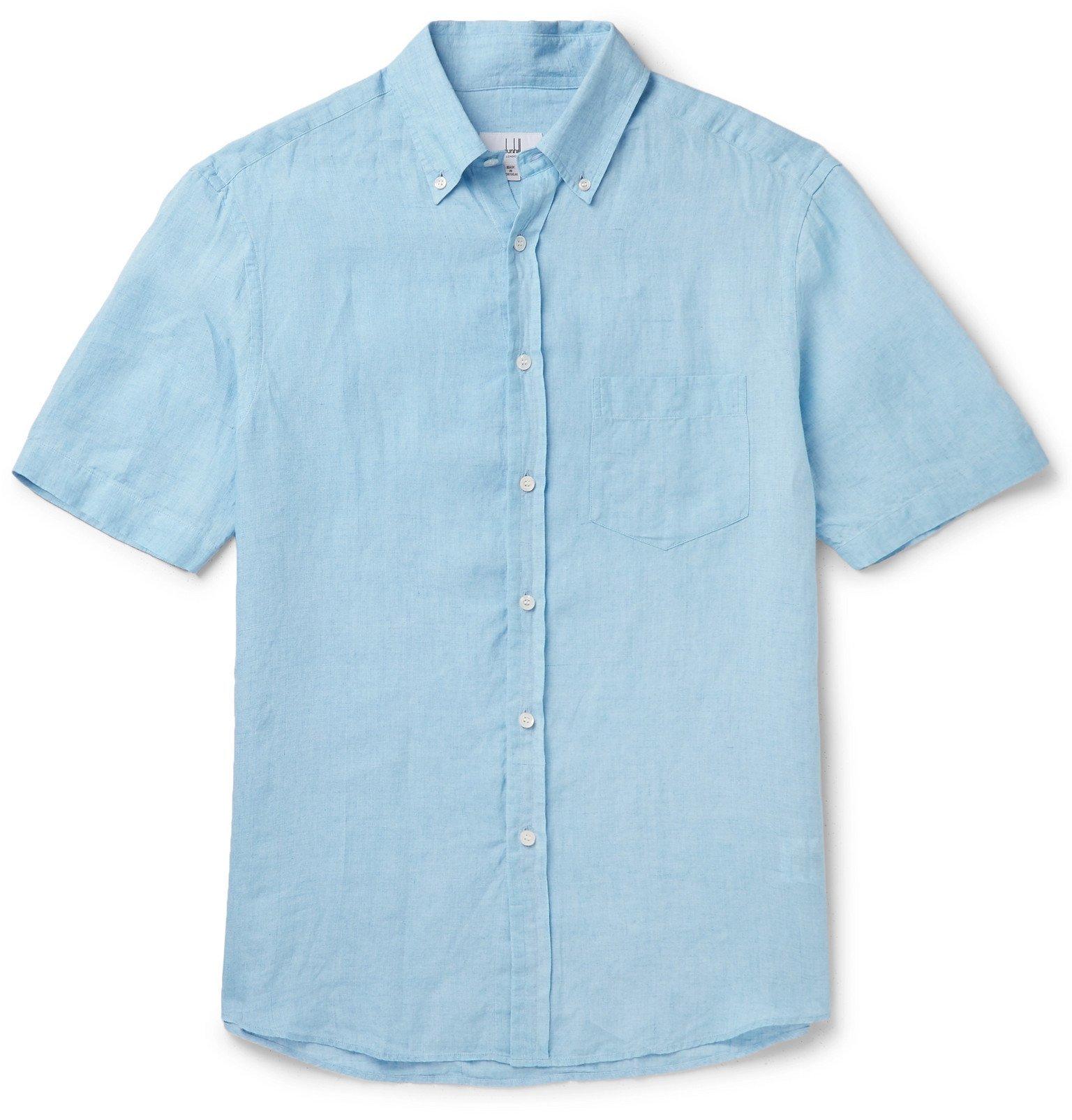 Dunhill - Button-Down Collar Linen Shirt - Blue