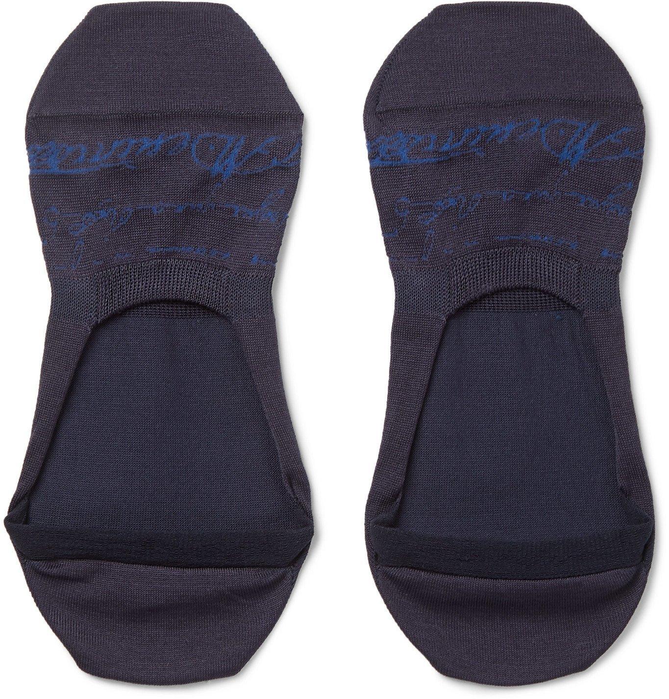 Photo: Berluti - Scritto Logo-Intarsia Stretch Cotton-Blend No-Show Socks - Blue