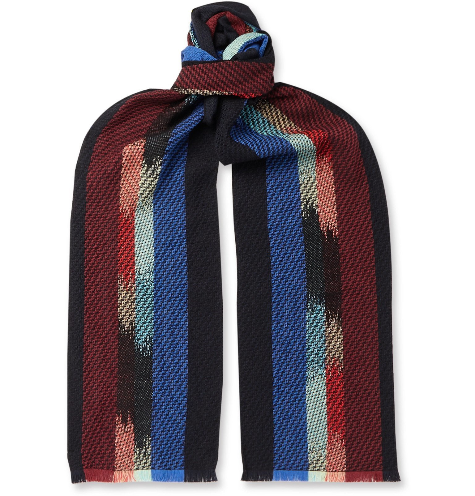 Photo: Missoni - Striped Knitted Scarf - Blue