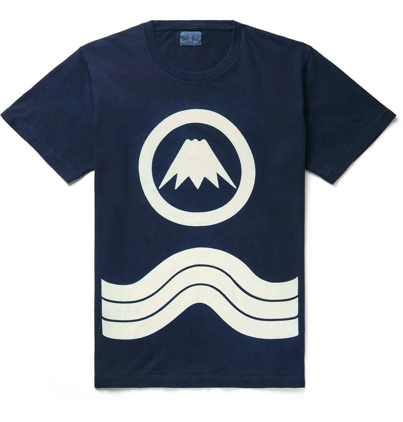 Photo: Blue Blue Japan - Indigo-Dyed Printed Cotton-Jersey T-Shirt - Blue
