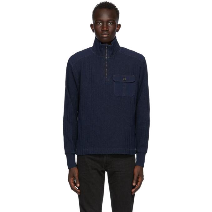 RRL Navy Ribbed Quarter-Zip Sweater