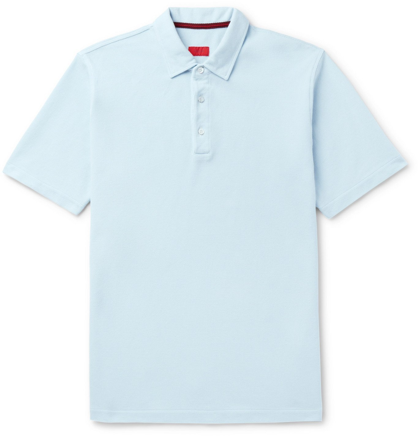 Photo: Isaia - Garment-Dyed Cotton-Piqué Polo Shirt - Blue