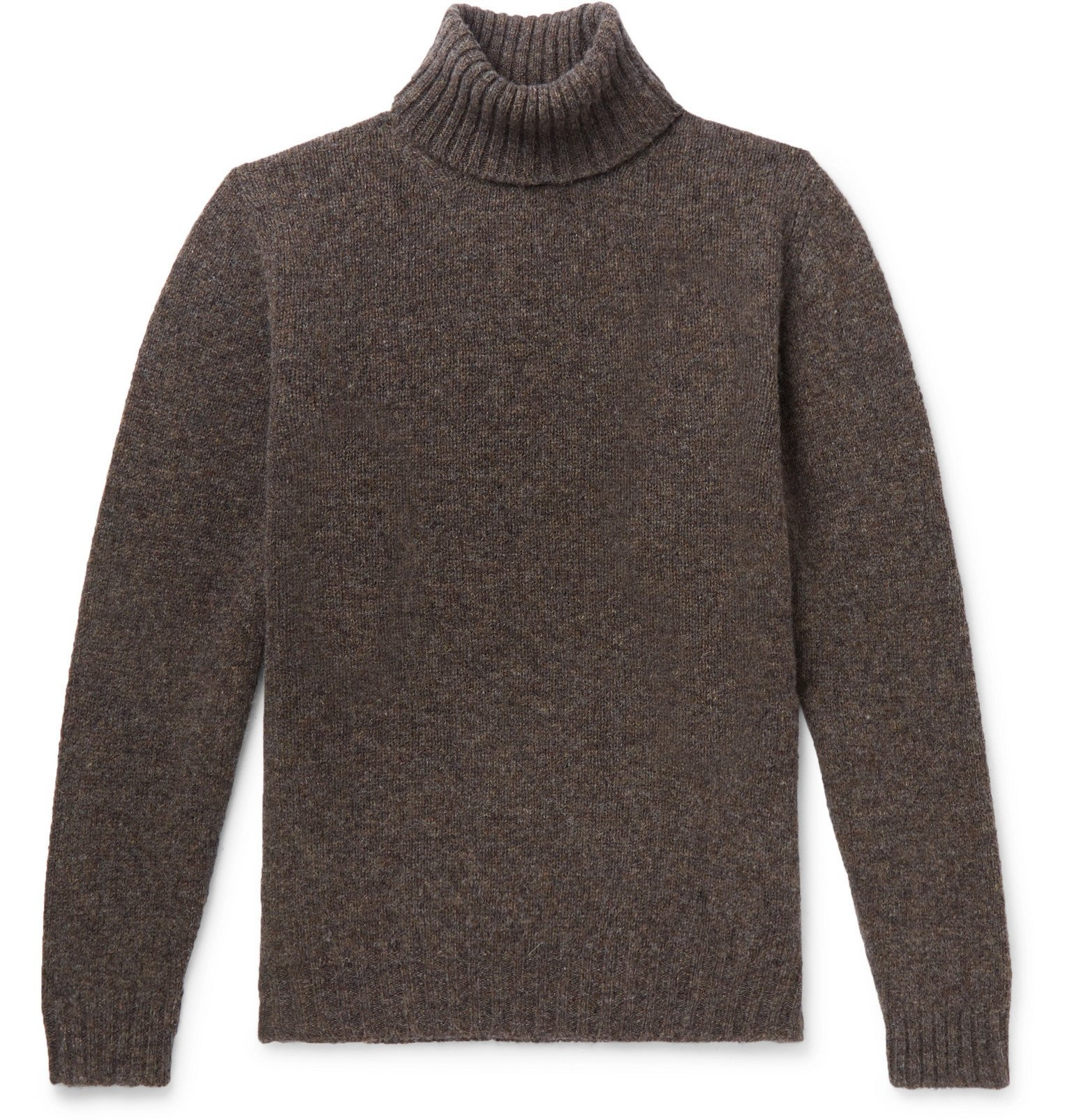 Photo: MAN 1924 - Mélange Shetland Wool Rollneck Sweater - Brown