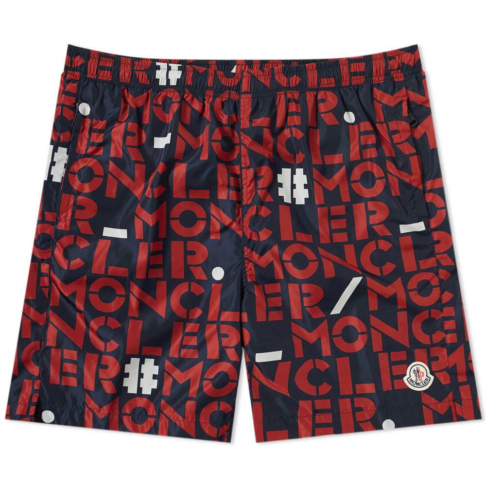 Photo: Moncler Genius - 2 Moncler 1952 - All Over Text Logo Swim Short