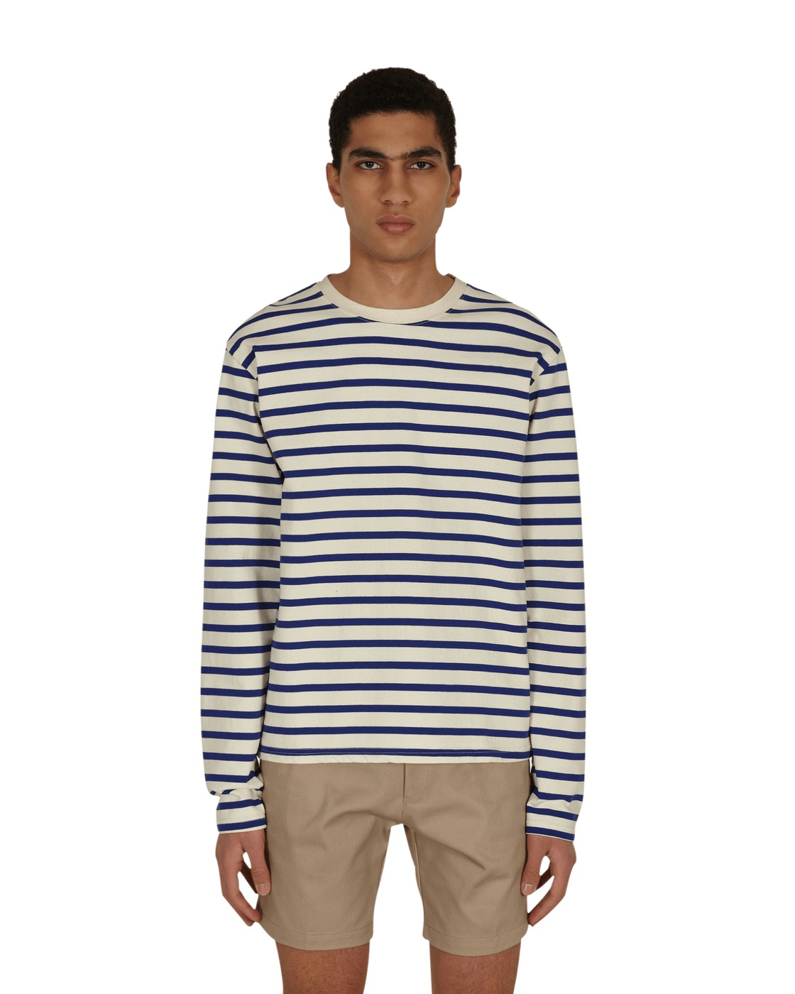 Kapital Border Jersey Longsleeve T Shirt Ecrxblue