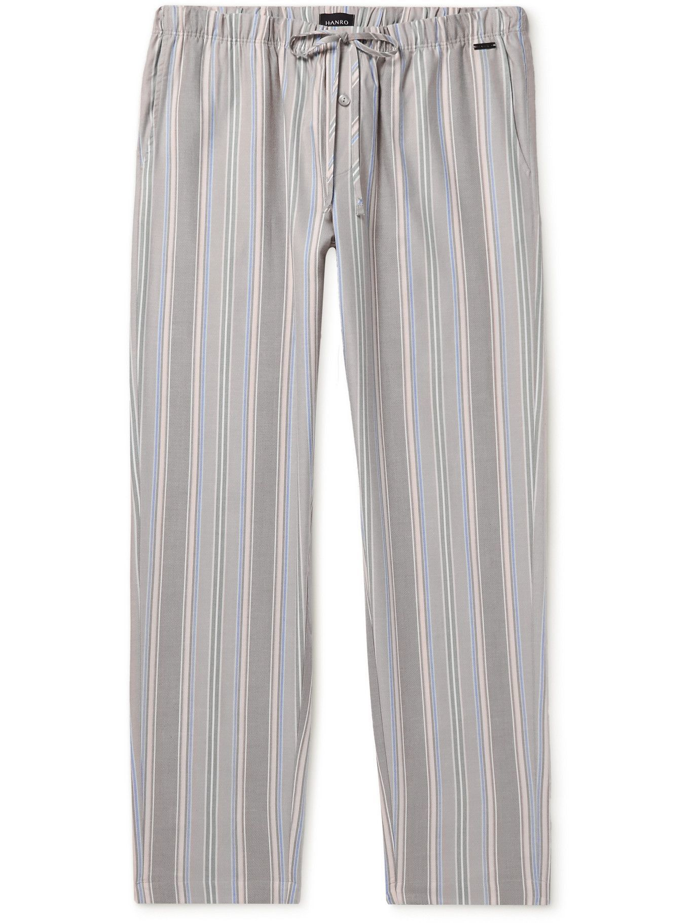 HANRO - Night & Day Striped Cotton and Lyocell-Blend Twill Pyjama Trousers - Gray